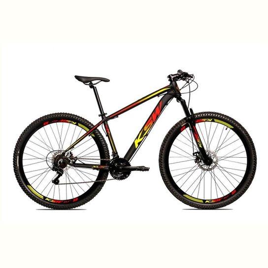 Bicicleta Aro 29 Ksw Shimano 24 Vel A Disco Ltx hidraulica - Amarelo+Vermelho