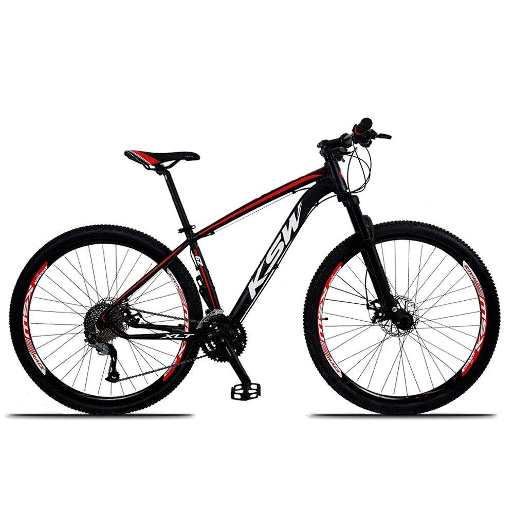 Bicicleta Ksw Xlt M3000 Disc M T15 Aro 29 Susp. Dianteira 27 Marchas - Preto/vermelho