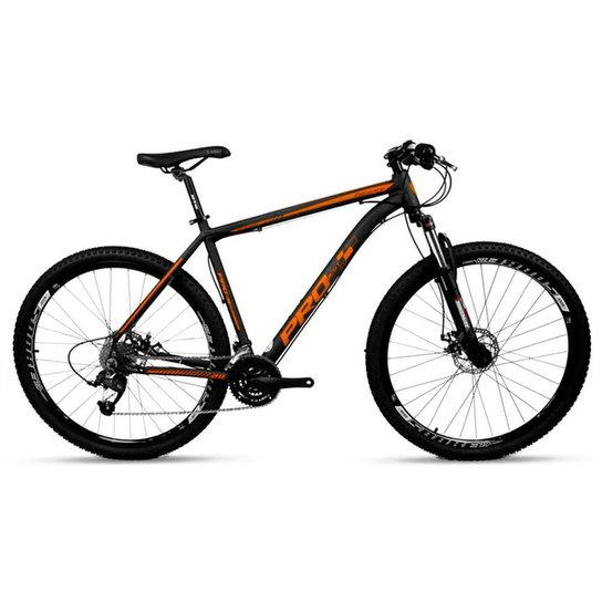 Bicicleta Aro 29 Prowest Freio Mec Trava Susp 27v Pto e Lja - Preto+Laranja