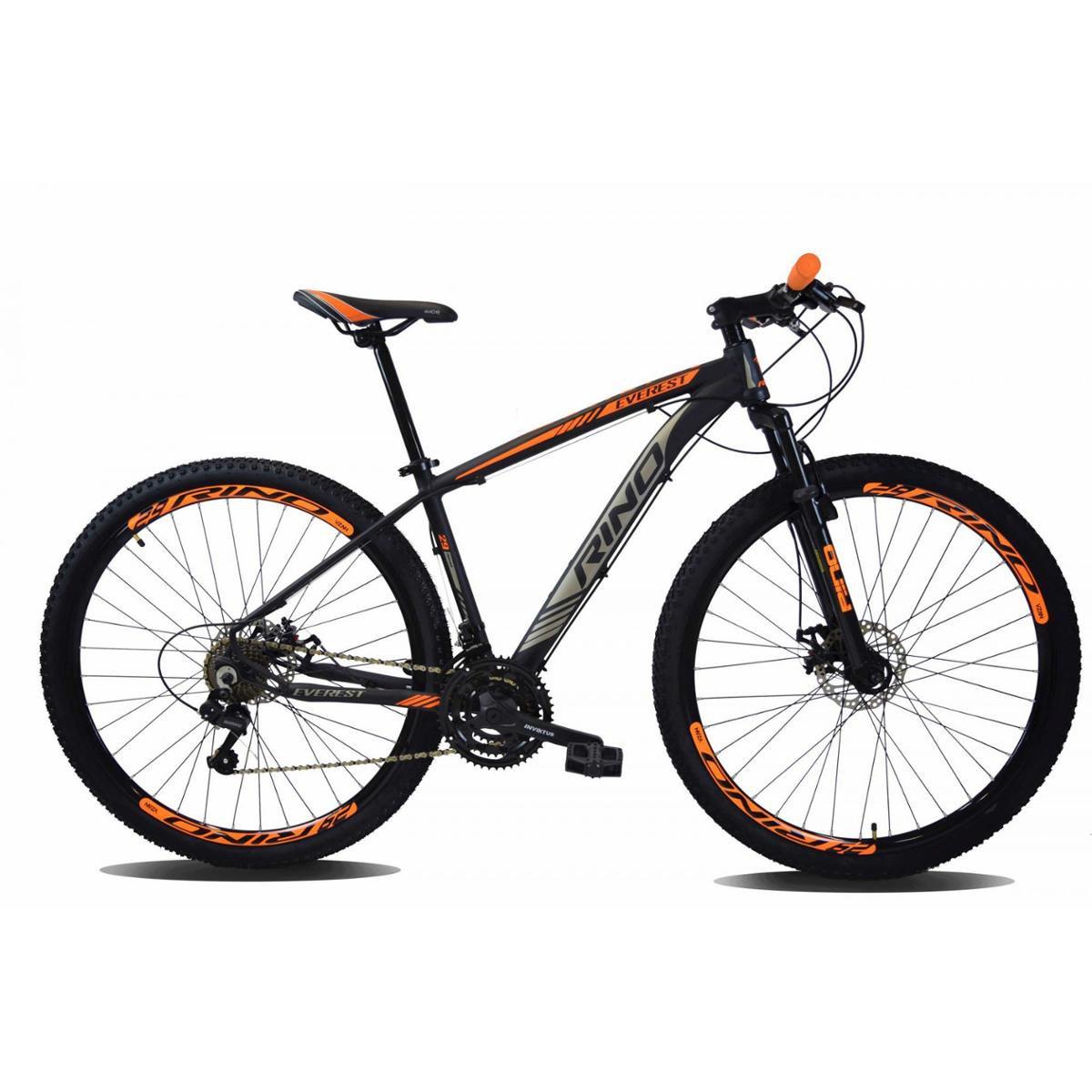 Bicicleta Rino Everest T15 Aro 29 Susp. Dianteira 20 Marchas - Laranja/preto