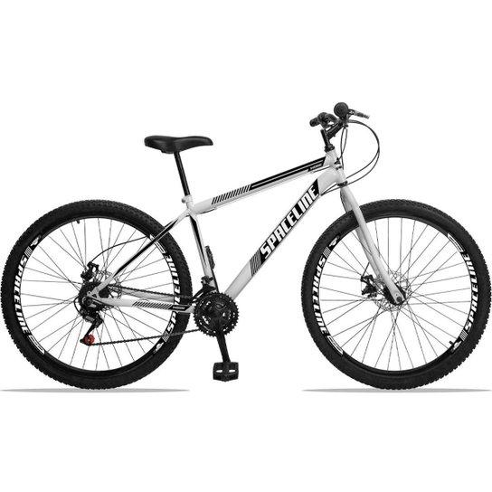 Bicicleta Aro 29 Spaceline Moon Aço 21 Marchas Freio a Disco - Branco+Preto