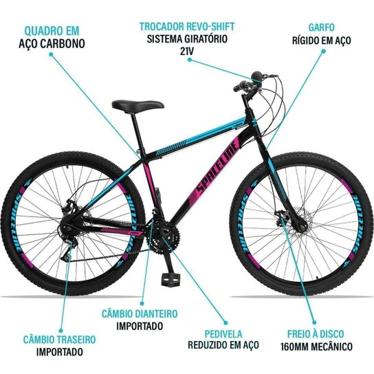 Bicicleta Aro 29 Spaceline Moon Aço 21 Marchas Freio a Disco - Azul+Rosa
