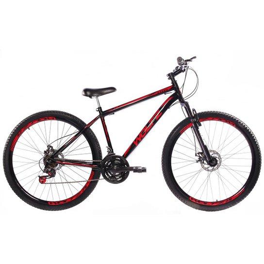 Bicicleta Aro 29 Woltz Aço Freios A Disco Suspensão - Preto+Vermelho