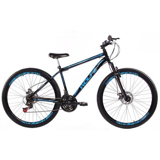 Bicicleta Aro 29 Woltz Aço Freios A Disco Suspensão - Preto+Azul