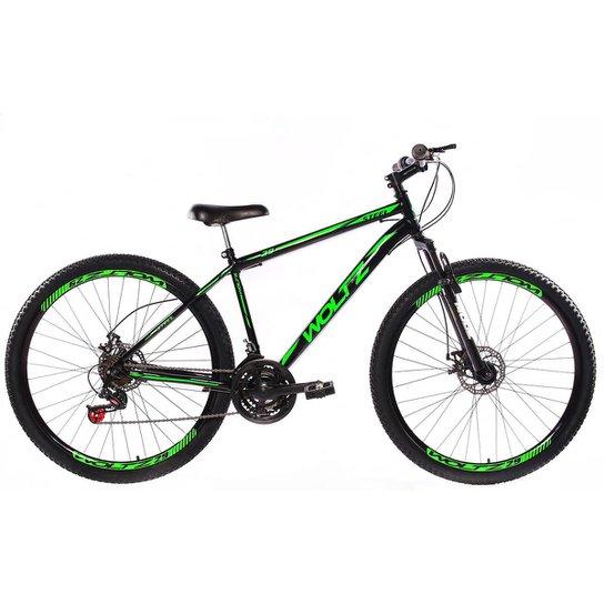 Bicicleta Aro 29 Woltz Aço Freios A Disco Suspensão - Preto+verde