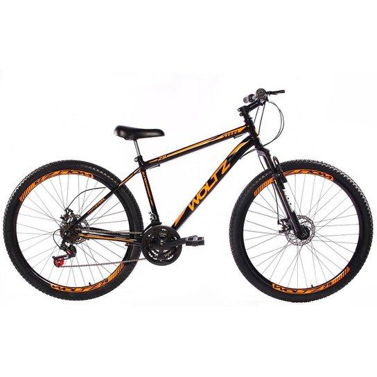 Bicicleta Aro 29 Woltz Aço Freios A Disco Suspensão - Preto+Laranja