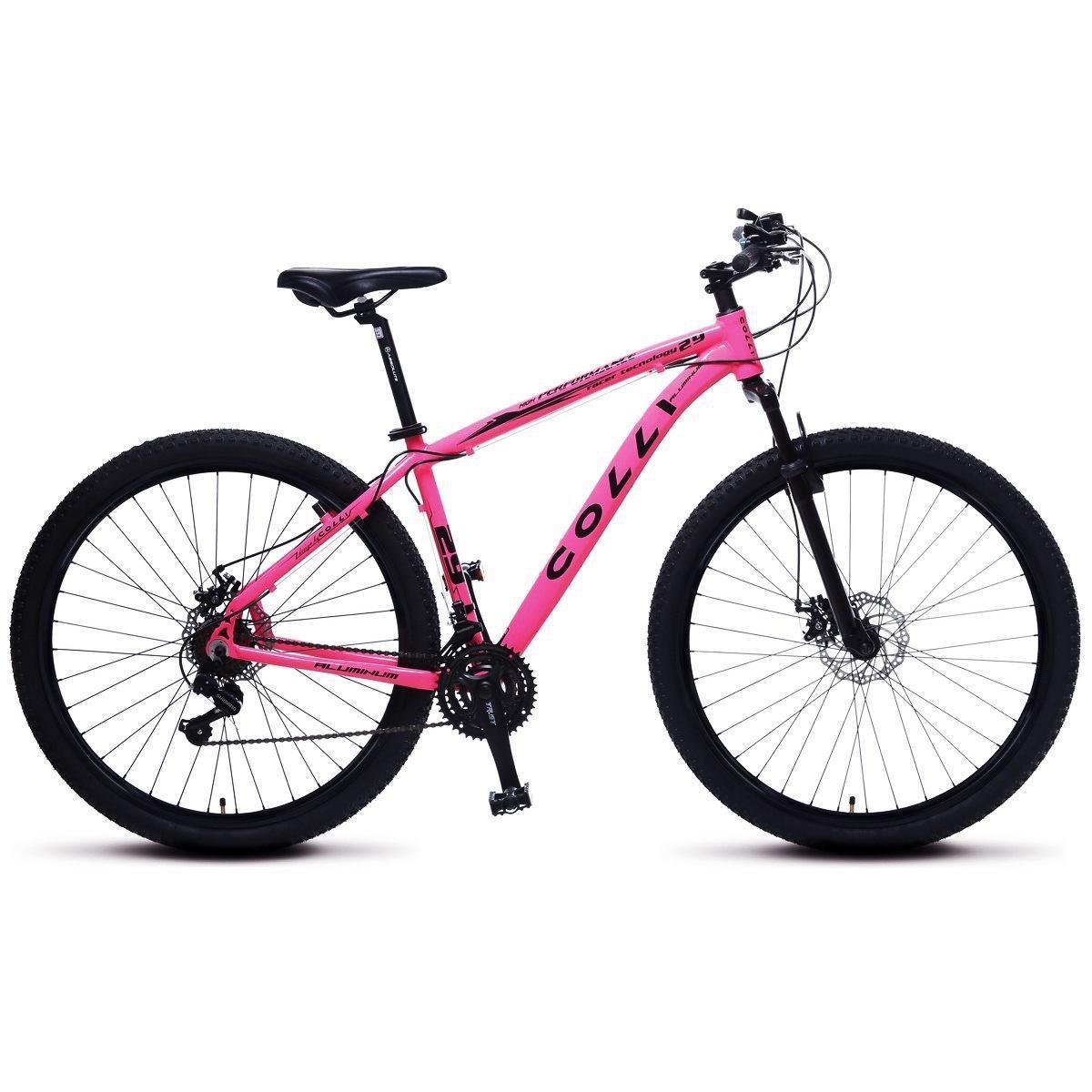 Bicicleta Colli MTB Aro 29 Alum. Kit Shimano 21M Susp. Dianteira Freios a Disco - Rosa Claro