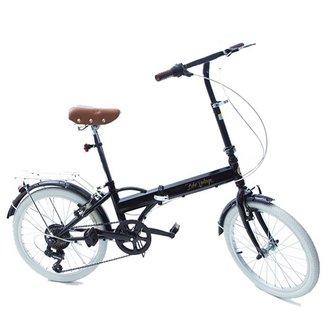 Bicicleta Dobrável Fênix Black LIGHT- Câmbio Shimano 6v - farol e campainha