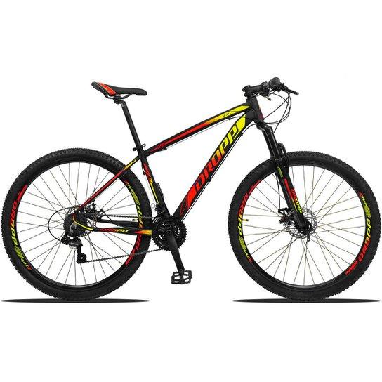 Bicicleta Dropp Z3 Aro 29 Câmbios Shimano Freio a Disco e Suspensão - Vermelho+Amarelo