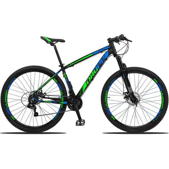Bicicleta Dropp Z3 Aro 29 Câmbios Shimano Freio a Disco e Suspensão - Verde+Azul