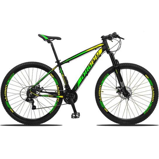 Bicicleta Dropp Z3 Aro 29 Câmbios Shimano Freio a Disco e Suspensão - Verde+Amarelo