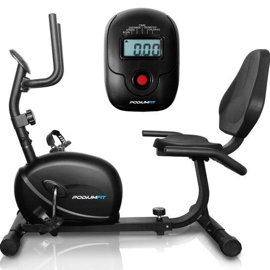 Bicicleta Ergométrica Horizontal PodiumFit H100 Magnética 8cargas Max130Kg - Preto