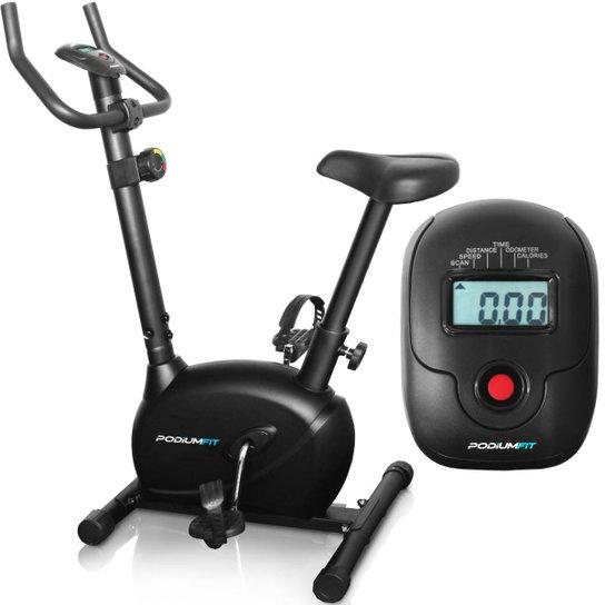 Bicicleta Ergométrica PodiumFit V100 - Magnética 8cargas - Max120Kg Silenciosa - Preto