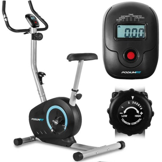 Bicicleta Ergométrica PodiumFit V200 - Magnética - 8cargas - Silenciosa - Preto