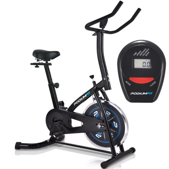 Bicicleta Ergométrica Spinning Podiumfit S100 Silenciosa Roda 8Kg - Preto