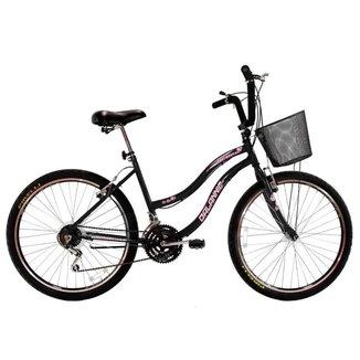 Bicicleta Feminina Aro 26 com 18 marchas Beach Preta