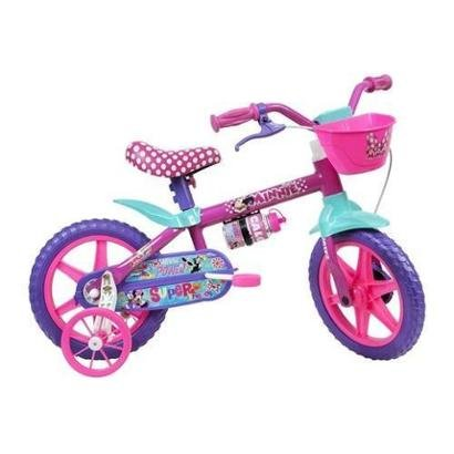 Bicicleta Infantil Caloi Minnie Aro 12 Roda Lateral Para-lamas - Feminino - Rosa