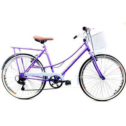 Bicicleta Retro Aro 26 Liza + Shimano 7v + Bagageiro - ROUTE BIKE