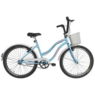 Bicicleta Retro Vintage Aro 26 Feminina Beach Azul Bebe