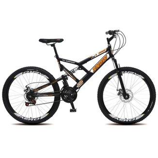 Bicicleta Snow Aro 26 Dupla Suspensão Freios à Disco 21 Marchas