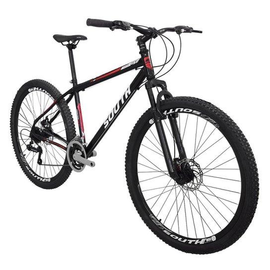 Bicicleta South Hunter GT - Aro 29 - 21 Marchas - Freios a Disco - Suspensão Dianteira - Preto+Vermelho