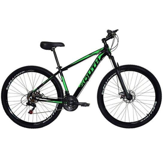 Bicicleta South Legend - Aro 29 - Alumínio - Freios a disco - 24 marchas - Preto+verde