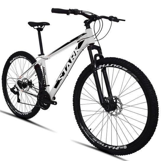 Bicicleta South Stark 2021 - Aro 29 - 21 Marchas - Freios a Disco - Suspensão Dianteira - Branco+Preto