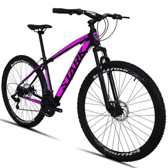 Bicicleta South Stark 2021 - Aro 29 - 21 Marchas - Freios a Disco - Suspensão Dianteira - Preto+Rosa
