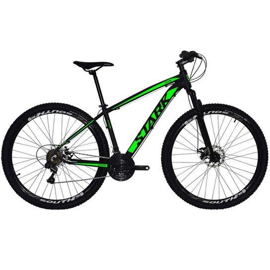 Bicicleta South Stark 2021 - Aro 29 - 21 Marchas - Freios a Disco - Suspensão Dianteira - Preto+verde