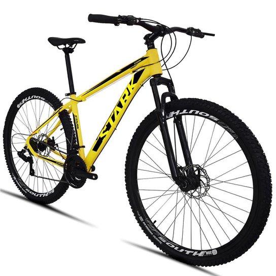 Bicicleta South Stark 2021 - Aro 29 - 21 Marchas - Freios a Disco - Suspensão Dianteira - Amarelo+Preto