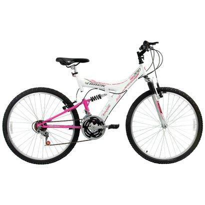 Bicicleta Track TB 200 Dupla Suspensão 18 V - Aro 26 - Feminino - Branco+Pink