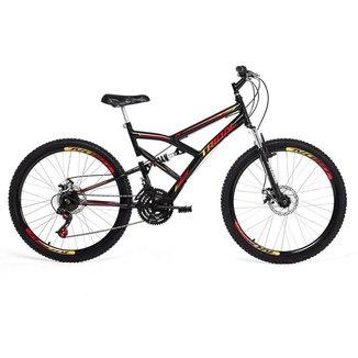 Bicicleta Tridal Full Suspensão aro 26 36 Raios Freios a Disco