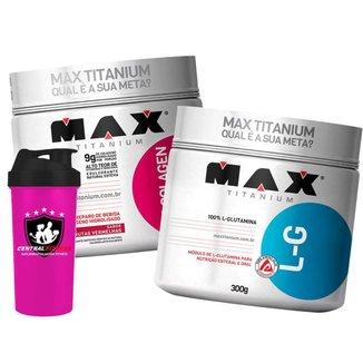 Bio Colagen 300g + Glutamina + Coqueteleira - Max Titanium