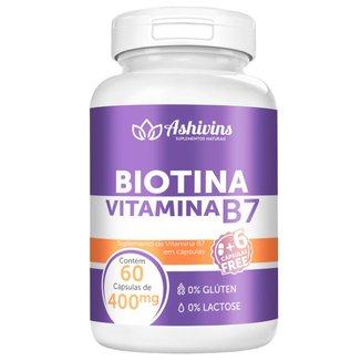 Biotina Vitamina B7 Ashivins 60 Cáps  400 mg