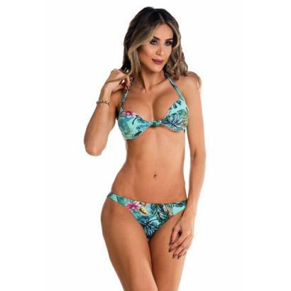 559548ec4 Biquini Maré BrasilCom Bojo Bolha E Nó - Azul Claro