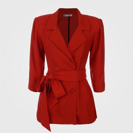 Blazer  Amarração Cintura Vértice Feminino - Vermelho