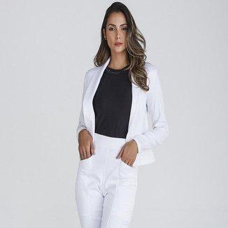 Blazer Jacquard Feminino Casaqueto Texturizado Slim Casual