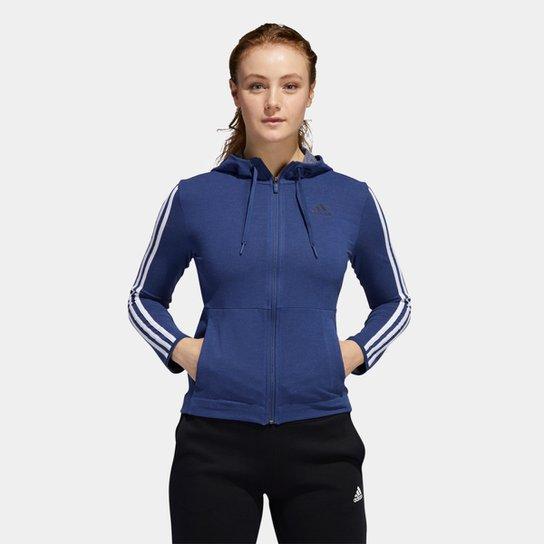 Blusa Adidas 3S Knt Fz Hoody Feminina - Azul