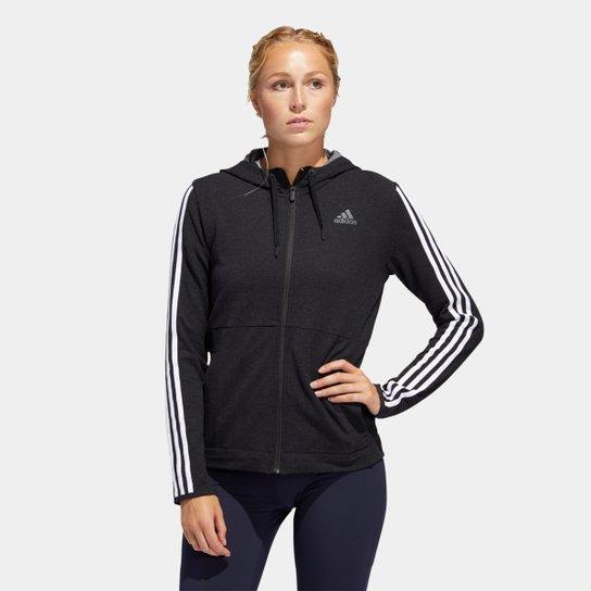 Blusa Adidas 3S Knt Fz Hoody Feminina - Preto+Branco