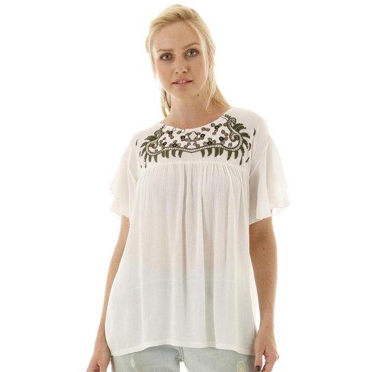 Blusa AHA Bordado na Pala Feminina - Branco+Azul