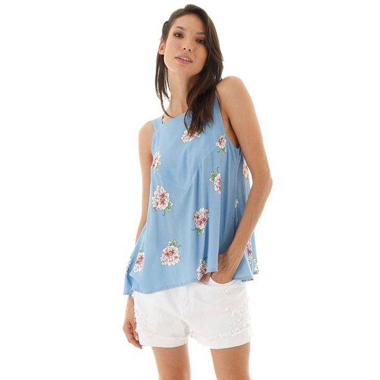 Blusa AHA Floral Nesgas e Listras Feminino - Azul+Rosa