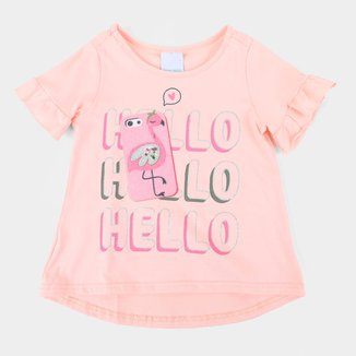 Blusa Bebê Malwee Hello Glitter Feminina