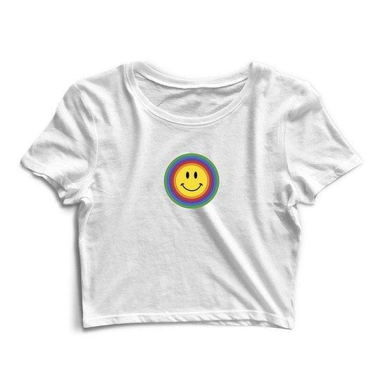 Blusa Blusinha Cropped Tshirt Camiseta Feminina Arco Íris Smile - Branco