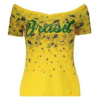 Blusa Brasil Braziline Feminina  Juruena - Amarela