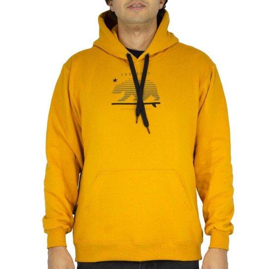Blusa Canguru Freesurf Basico California Masculino - Amarelo