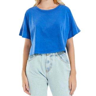 Blusa Cantão Ombro Basic Azul-GG