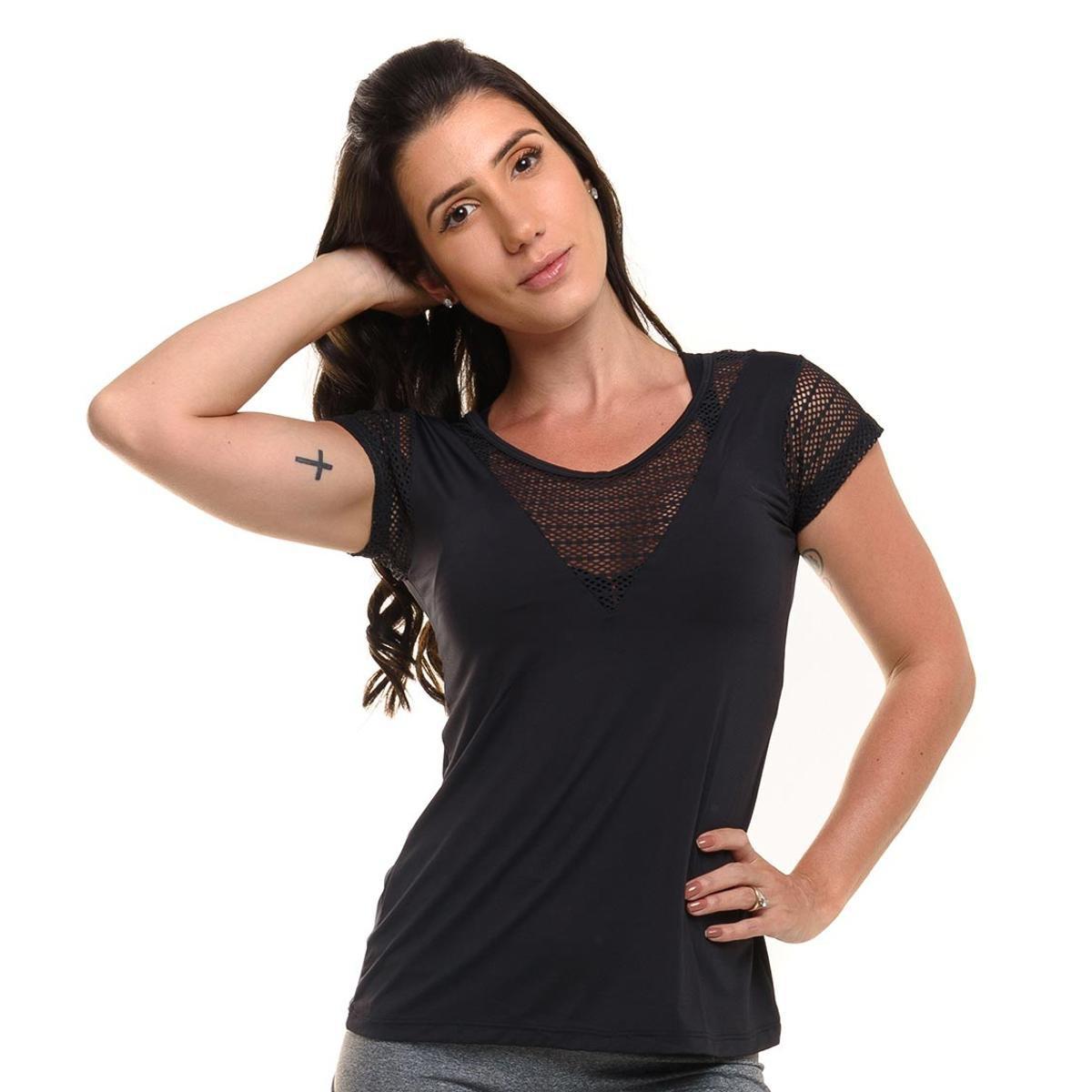 Solar Feminino Blusa Fluid Proteção Com Com Blusa Fitness Proteção Preto Sandy frqwXzr