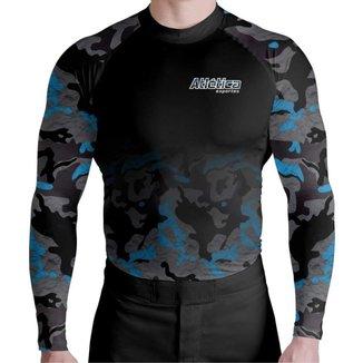 Blusa Compressão Camuflado Azul Atletica