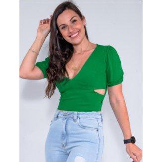 Blusa Cropped Feminina Revanche Luiza Verde