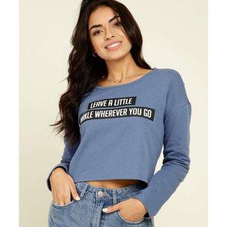 Blusa Cropped Feminino Moletinho Estampa Frontal - 10047604667
